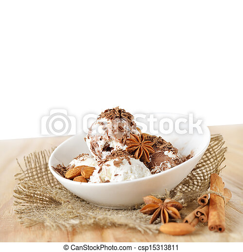 Food background. Scoops of ice cream with nuts and chocolate - csp15313811