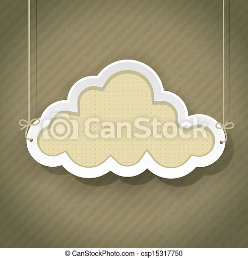 cloud as retro sign on vintage background - csp15317750