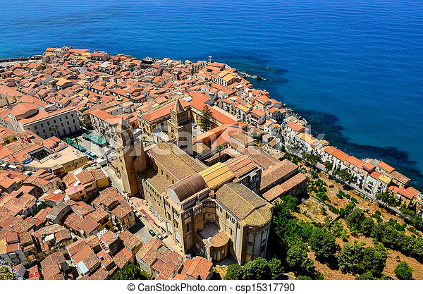 Aerial view of village and cathedral in Cefalu, Sicily - csp15317790