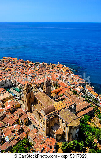Aerial vertical view of village and cathedral in Cefalu, Sicily - csp15317823