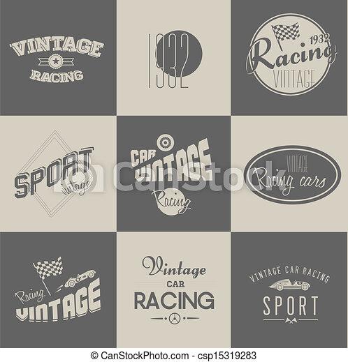 Vintage car racing badges - csp15319283