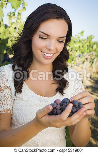 Young Adult Woman Enjoying The Wine Grapes in The Vineyard - csp15319801