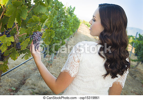 Young Adult Woman Enjoying The Wine Grapes in The Vineyard - csp15319861