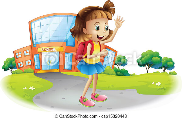 EPS Vector of A girl going home from school - Illustration ...