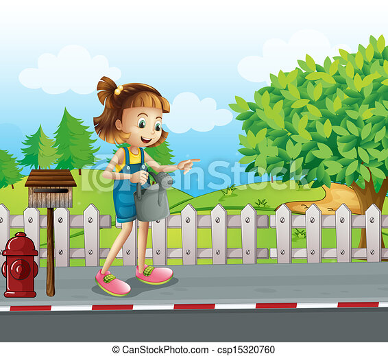 Clip Art Vector of A girl walking in the street with a ...