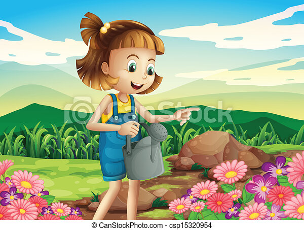 Clipart Vector of A little woman watering the plants ...