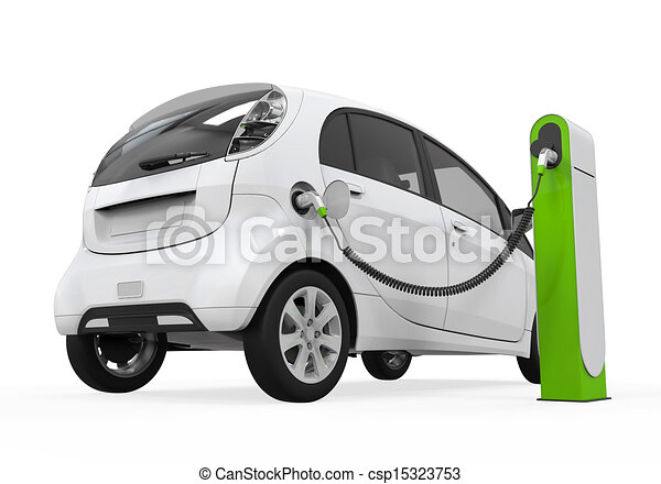 Stock Illustrations Of Electric Car In Charging Station Isolated