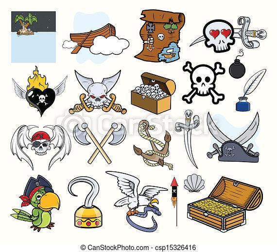 Vector Clip Art de vectores, Conjunto, pirata, caricatura ...