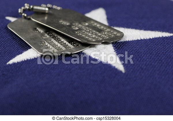 Dog Tags on flag - csp15328004