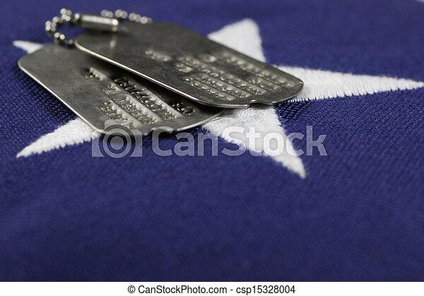 Dog Tags on flag - csp15328004