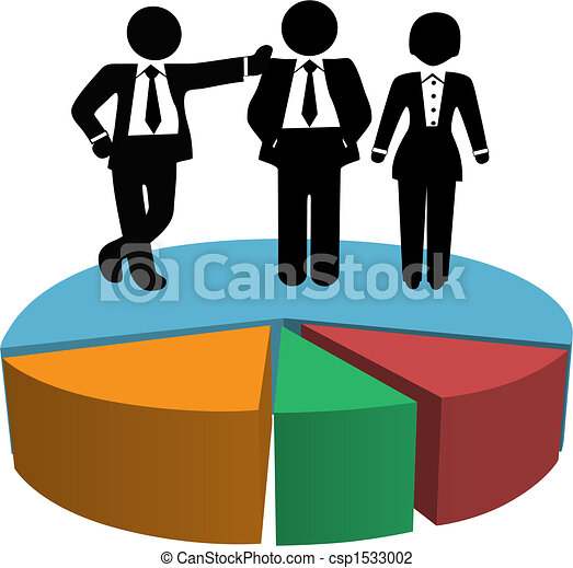 Business People Sales Team on Profit Growth Pie Chart - csp1533002