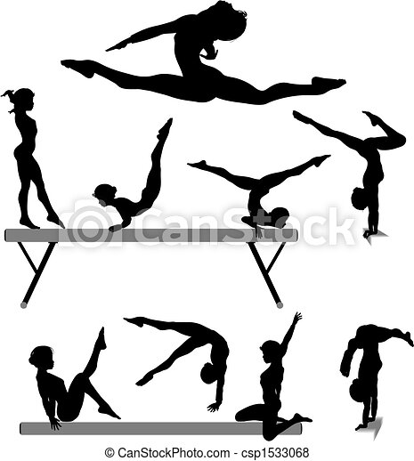Female gymnast silhouette balance beam gymnastics exercises - csp1533068