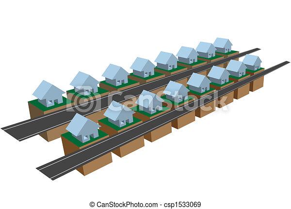 Rows of row houses on street blocks - csp1533069