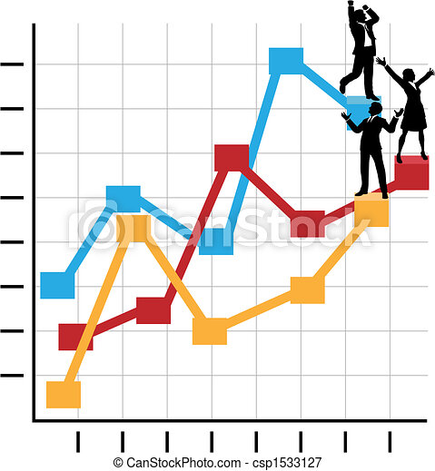 Business People Celebrate Success Standing on Growth Chart - csp1533127