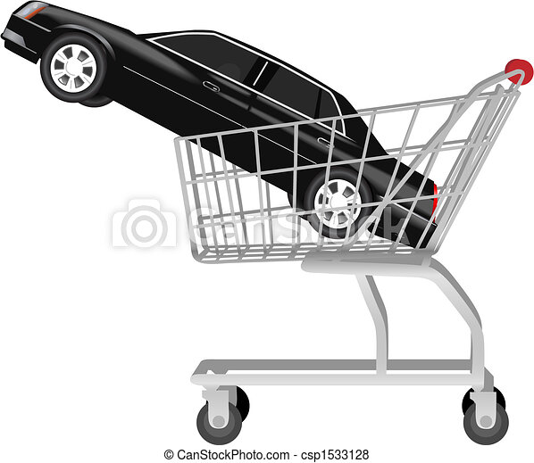 car buying - a black auto in shopping cart - csp1533128