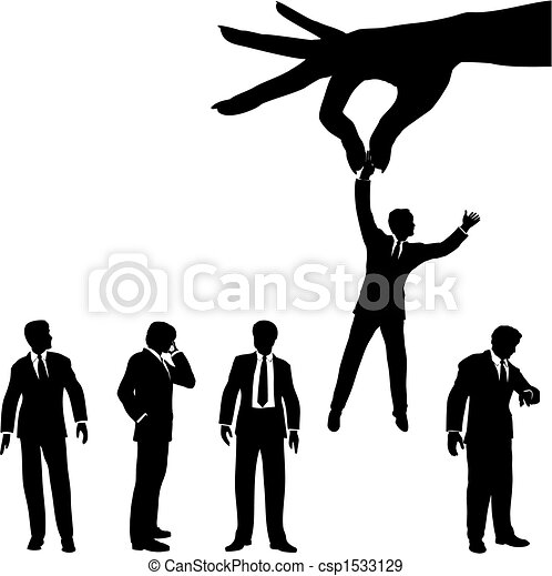 hand selects business man silhouette from group of people - csp1533129