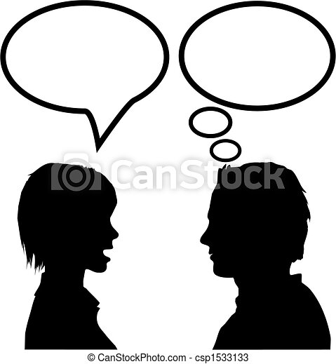 speech & talk man & woman say listen & think - csp1533133