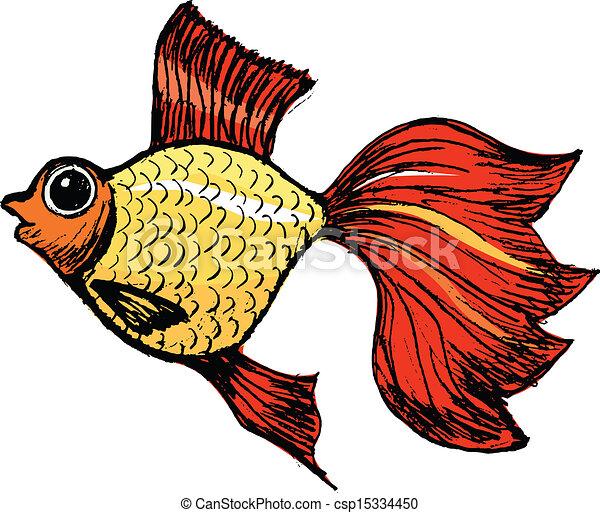 Vecteur clipart de poisson rouge main dessin vecteur - Croquis poisson ...