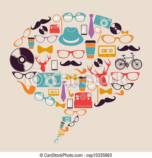 Retro hipster icons social media. - csp15335863