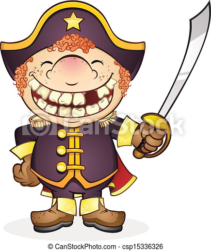 Vector Illustration of Navy Boat Captain Cartoon Character - A kid ...