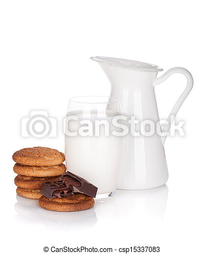 Jug and glass of milk, cookies and chocolate - csp15337083