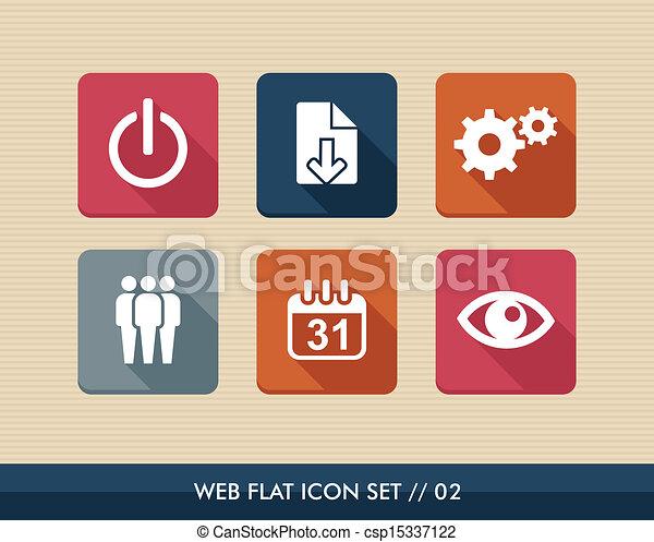 vektor illustration von web apps quadrat wohnung heiligenbilder satz web csp15337122. Black Bedroom Furniture Sets. Home Design Ideas