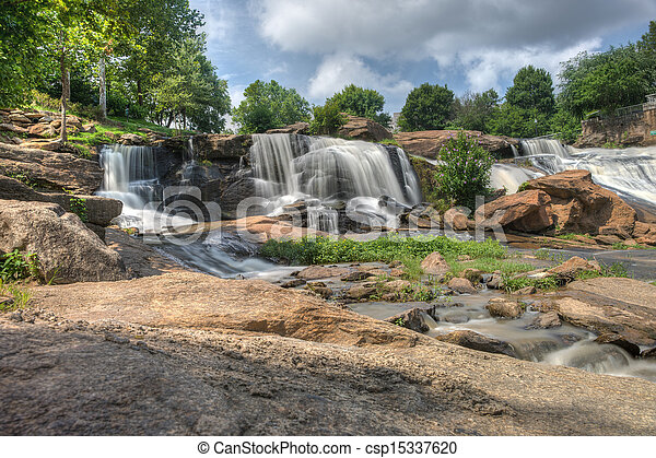 HDR Falls Park on The Reedy River - csp15337620
