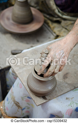 potter man hands shaping ceramic craft