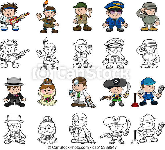 Cute People Clipart Cute Cartoon People Set