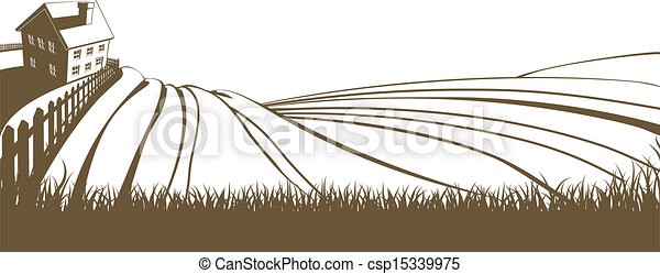 Vectors Illustration of Farm and rolling hills - An ...