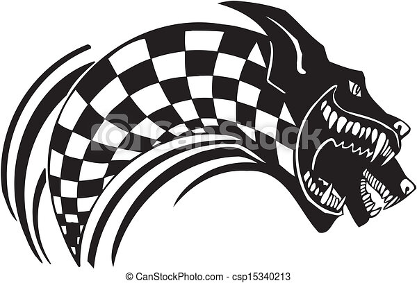Checkered flag and wolf. Vector illustration. - csp15340213