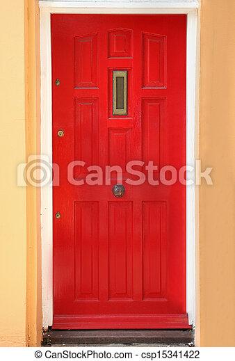 Red residential door - csp15341422