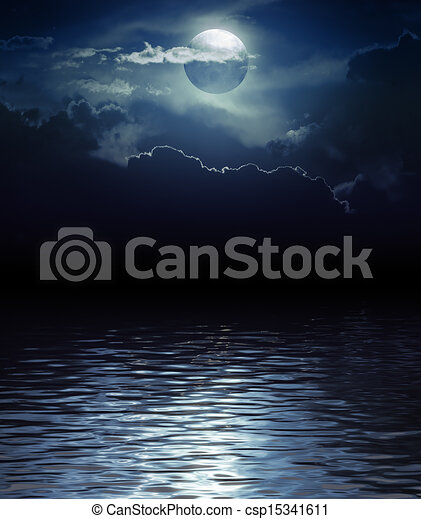 Fantasy Moon and Clouds over water - csp15341611