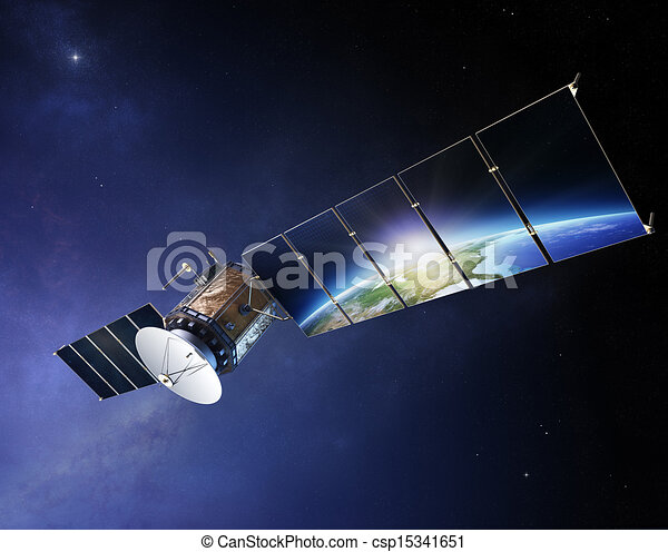 Satellite communications with earth reflecting in solar panels - csp15341651