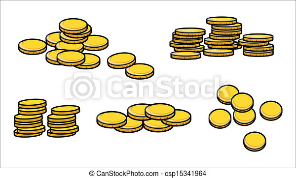 Stack of Coins Vector Stack of Gold Currency Coins