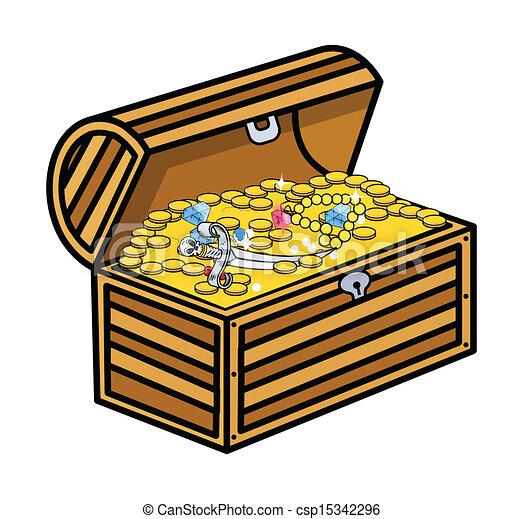 EPS Vectors of Treasure Box Vector - Drawing Art of Pirate ...