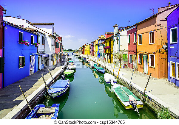 Venice landmark, Burano island canal, colorful houses and boats, Italy. Long exposure photography - csp15344765