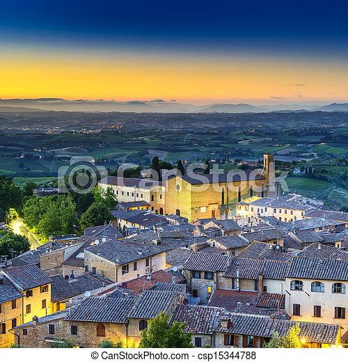 San Gimignano night aerial view, church and medieval town landmark. Tuscany, Italy - csp15344788