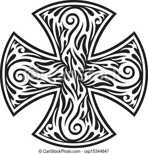 cross (cross tribal tattoo) - csp15344847