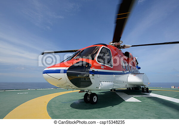The S92 helicopter park on oil rig  - csp15348235