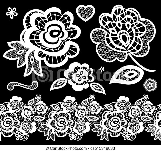 Lace Flowers Drawings Vector Lace Embroidery