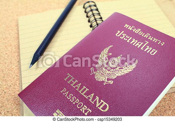 Passport and notebook - csp15349203