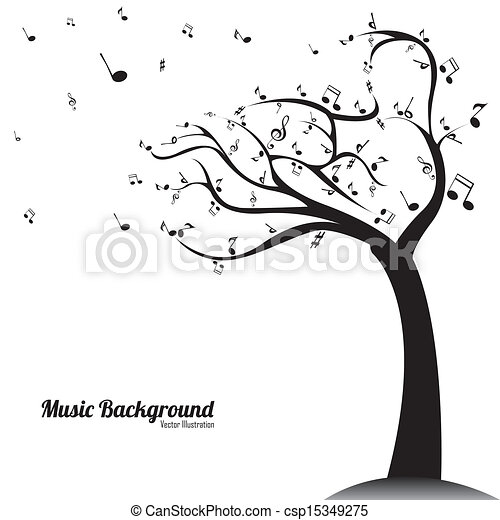 Vectors Illustration of music background - abstract music tree on ...