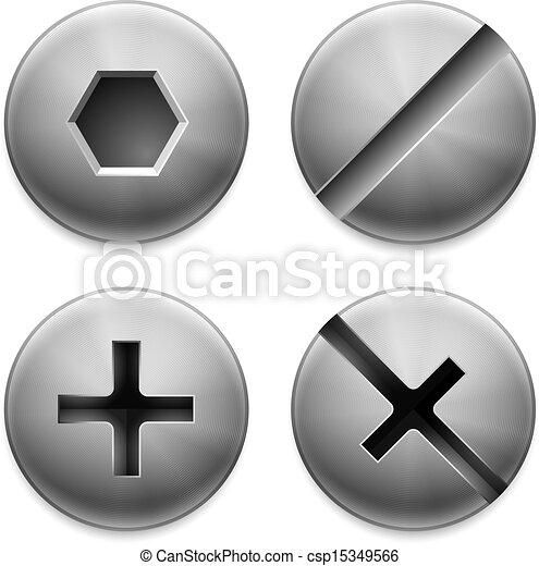 clip art vektor von vier arten schrauben satz verschieden riegel k pfe csp15349566. Black Bedroom Furniture Sets. Home Design Ideas