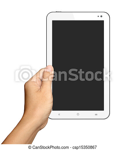 Hands are holding Small White Tablet Computer on white background - csp15350867