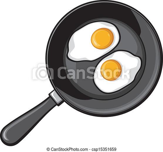Frying Pan Drawing Fried Eggs on Frying Pan