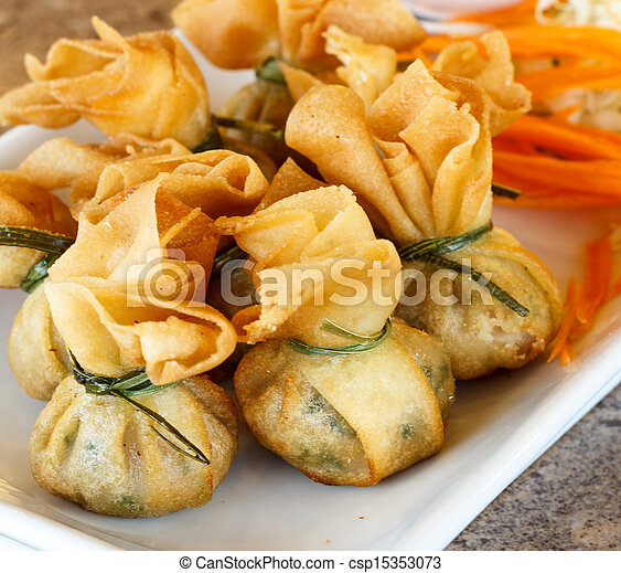 Fried pork dumplings wrapped is food thailand - csp15353073