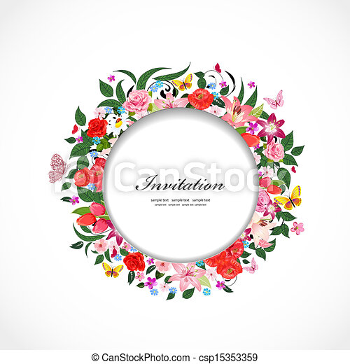 Round frame of beautiful flowers for your design - csp15353359