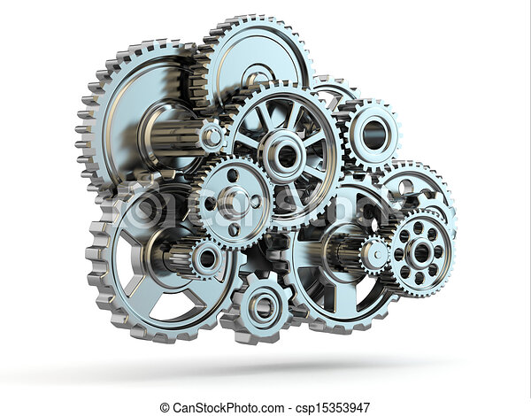Gear Drawings Iron Gears on White Isolated