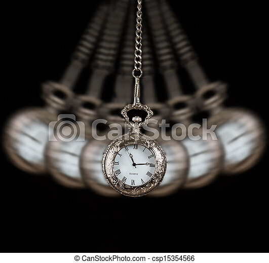 Pocket watch swinging on a chain black background - csp15354566